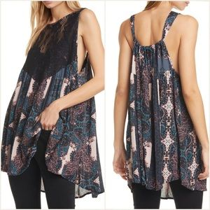 NEW Free People Count Me In Black Trapeze Tunic Top Sz S